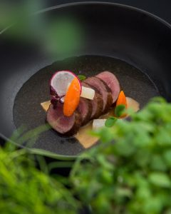 Elements_Venison Loin beef ocha, smoked eringi mushrooms and root vegetables