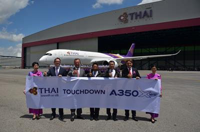 TG096_1-THAI Holds Touchdown Ceremony to Welcome its First Airbus A350 XWB