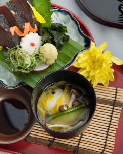 Yamazato Special Gozen for Double 9 Festival_Hot clear soup with mugwort dumpling Shimeji mushroom, chrysanthemum